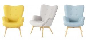 ...des fauteuils aux jolies arrondies et teintes pastels...