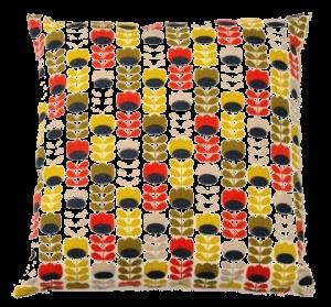 coussin Orla Kiely POUR Monoprix  jaune et rouge (2) transparent