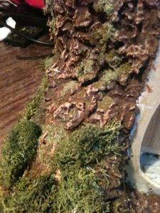 maison de poupée ciment peint nuances de bruns + difftes mousses